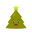 diseased christmas tree isolated emoticon vector image vector image
