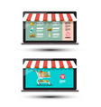 food online store concpt e shop icons e-commerce vector image vector image
