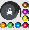 Forklift icon sign Symbols on eight colored vector image