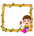 gardener on the wood frame with roots and leaf vector image vector image
