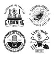 gardening service emblems badges labels vector image vector image