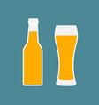 glass of beer and bottle flat icon vector image vector image