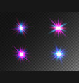 glowing lights collection isolated on transparent vector image vector image