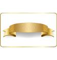 Gold ribbon foil white Golden blank banner vector image vector image