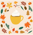 hello autumn cup of coffeelatte autumn leafs on vector image