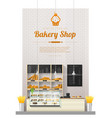 interior background with modern bakery shop vector image vector image
