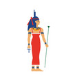 isis ancient egypt goddess in throne headdress vector image