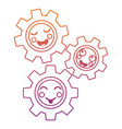 kawaii gears motion and mechanics cartoon vector image vector image