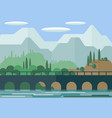 landscape the picturesque bridge on the vector image vector image