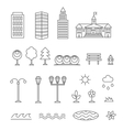 Linear landscape elements icons set Line vector image
