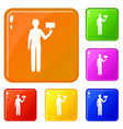 man figure icons set color vector image vector image