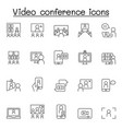 meeting video conference icon set in thin line vector image