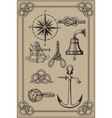Nautical elements on vintage background vector | Price: 1 Credit (USD $1)