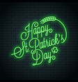 patrick day neon lettering happy patricks day vector image vector image