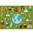 people flat avatars with global professions vector image