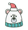 polar bear with hat scarf merry christmas vector image vector image