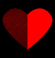 red heart with black lines on black sign 112 vector image