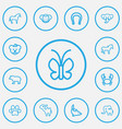 set of 13 editable zoo outline icons includes vector image