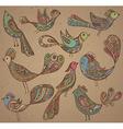 Set of cute ornamental hand drawn birds vector image vector image
