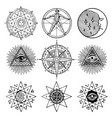 set of icons on theme of magic esoteric masons vector image