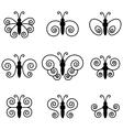 Set of nine butterflies for design vector image vector image