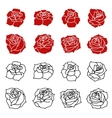 Set of the roses flowers silhouettes isolated on vector image vector image