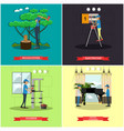 set of workers profession posters in flat vector image