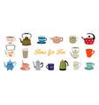 set teapots flat design style vector image
