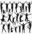 silhouettes celebrating success vector image vector image