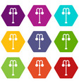street lamp icon set color hexahedron vector image vector image