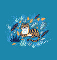tiger in tropical leaves isolated on yellow vector image