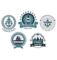 vintage marine in blue and white emblems vector image vector image