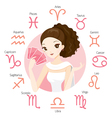 Woman Fortuneteller Tarot Card With Zodiac Signs vector image