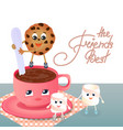 a marshmallow a cookie and a coffee cup vector image vector image