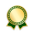 award ribbon isolated gold green design medal vector image