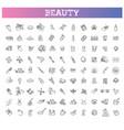 beauty outline icons set beauty treatment vector image