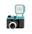 blue and black analog film camera with big flash vector image vector image