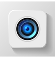 Blue Camera Lens Icon on White vector image vector image