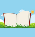 book template with green grass background