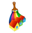 brush with paint and houses vector image vector image