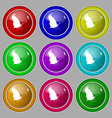butterfly icon sign symbol on nine round colourful vector image