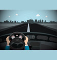 car on the road with city skyline on background vector image