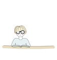 Cartoon character reading a book vector image