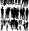 crowded people silhouette vector image
