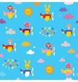 cute animals in airplanes pattern vector image vector image