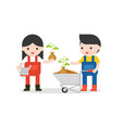 cute farmer or gardener with watering can vector image