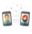 dating application with man and woman vector image vector image