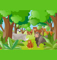 different wild animals in the forest vector image vector image