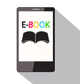 E-Book Title on Cell Phone Screen Flat Design vector image vector image