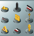 egypt color isometric icons vector image vector image
